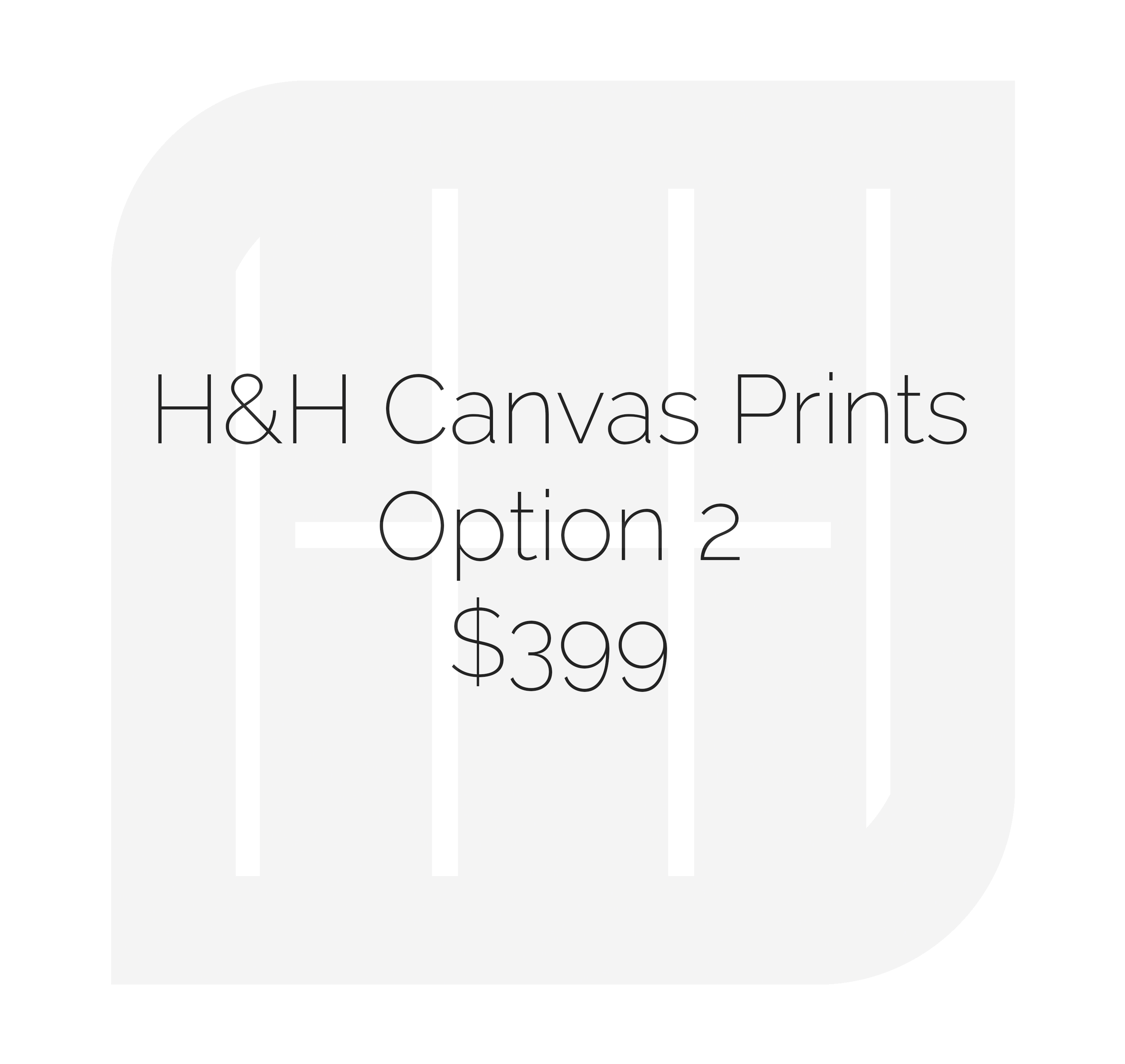 • (1) 16x24 Gallery Wrap Canvas Print • (2) 12x18 Gallery Wrap Canvas Prints