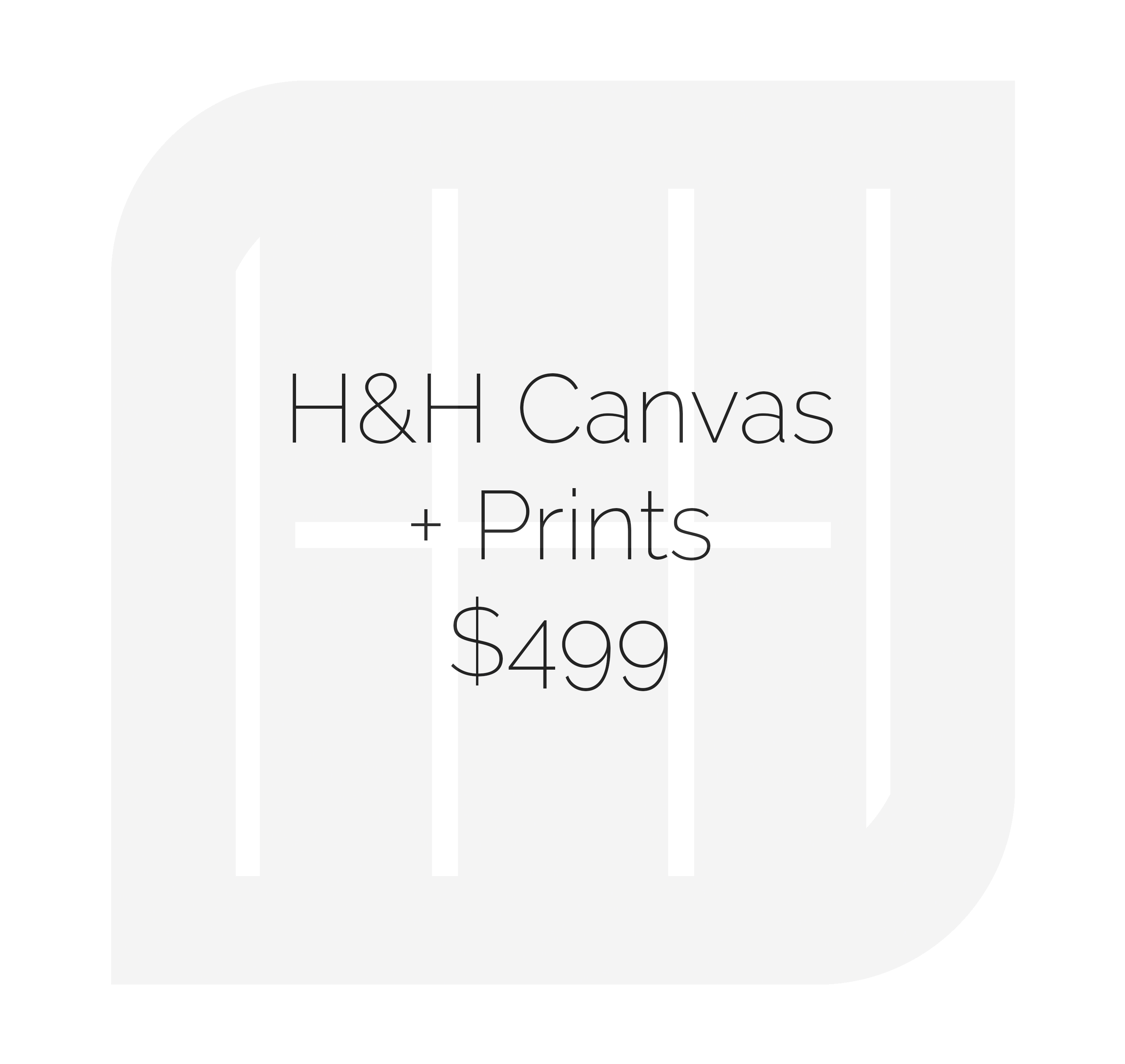 • (1) 16x24 Gallery Wrap Canvas Print • (2) 12x18 Gallery Wrap Canvas Prints • (20) 4x6 deep matte • (5) 5x7 deep matte  • (4) 8x12 deep matte